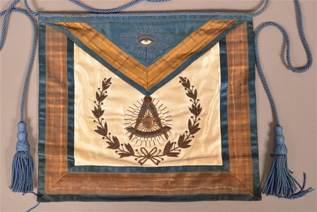 1929 Masonic Gilt Thread Needlework Silk Apron.