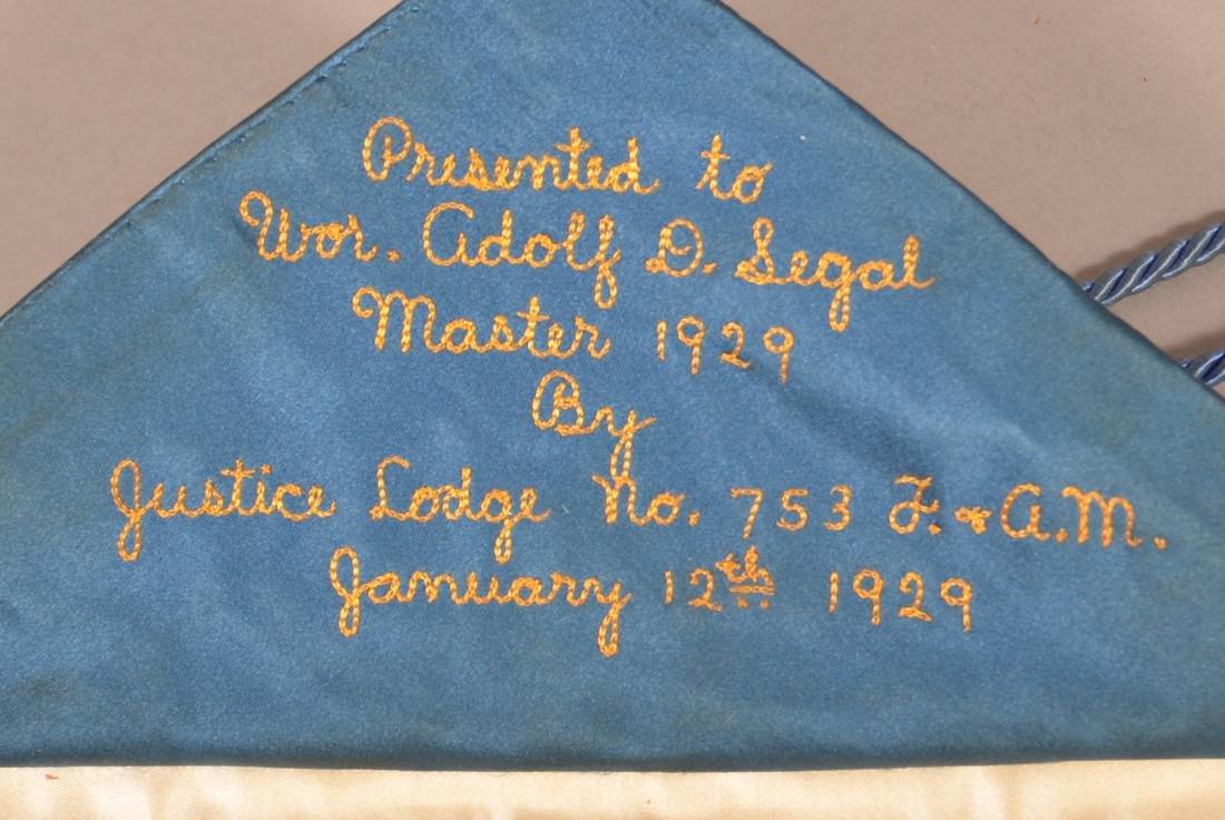 1929 Masonic Gilt Thread Needlework Silk Apron. - 2