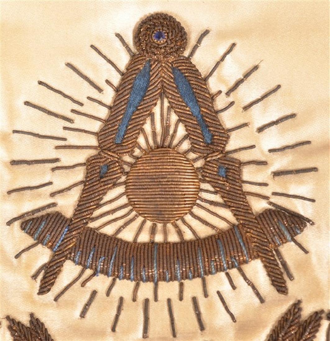 1929 Masonic Gilt Thread Needlework Silk Apron. - 4