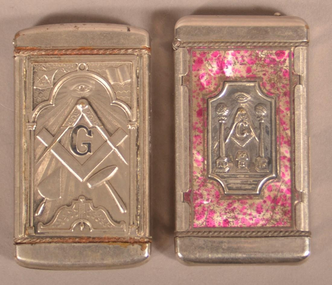 Two Early 20th Century Masonic Match Safes.