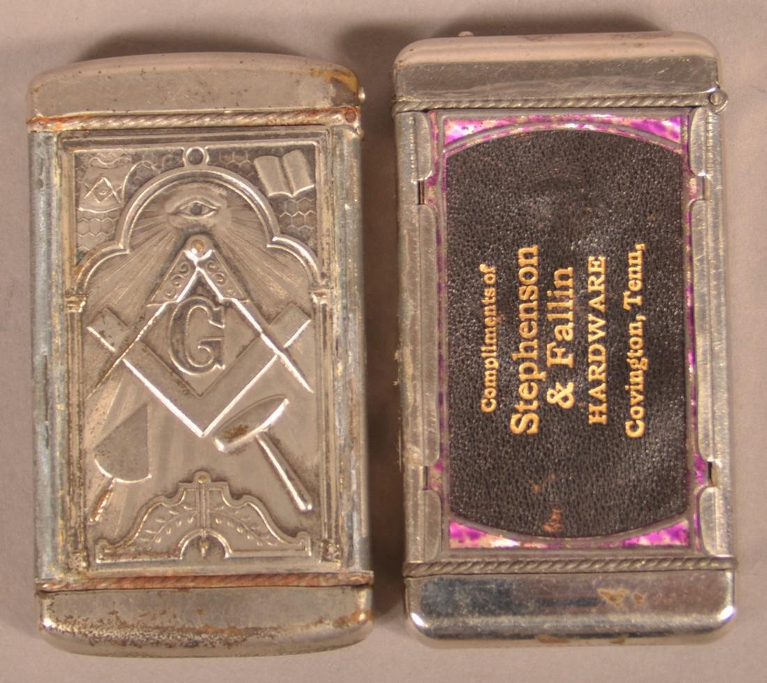 Two Early 20th Century Masonic Match Safes. - 2