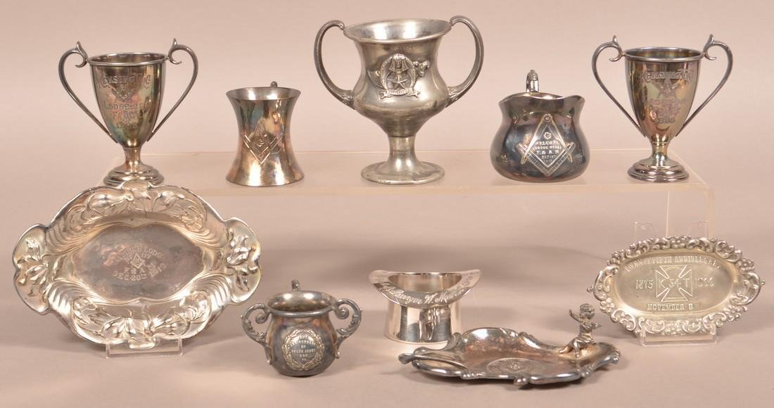Ten Various Pieces of Masonic Silver-plate Items.