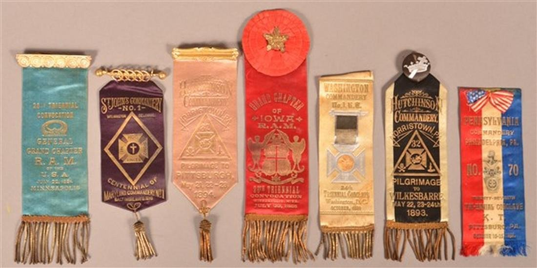 Seven Late 19th Century Masonic Ribbons.