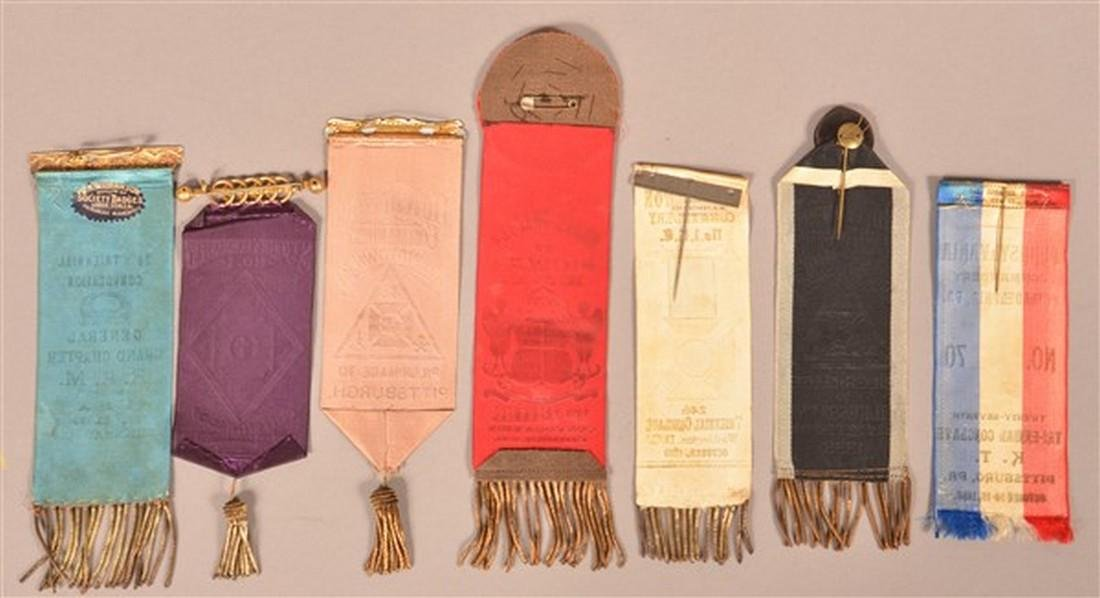Seven Late 19th Century Masonic Ribbons. - 2