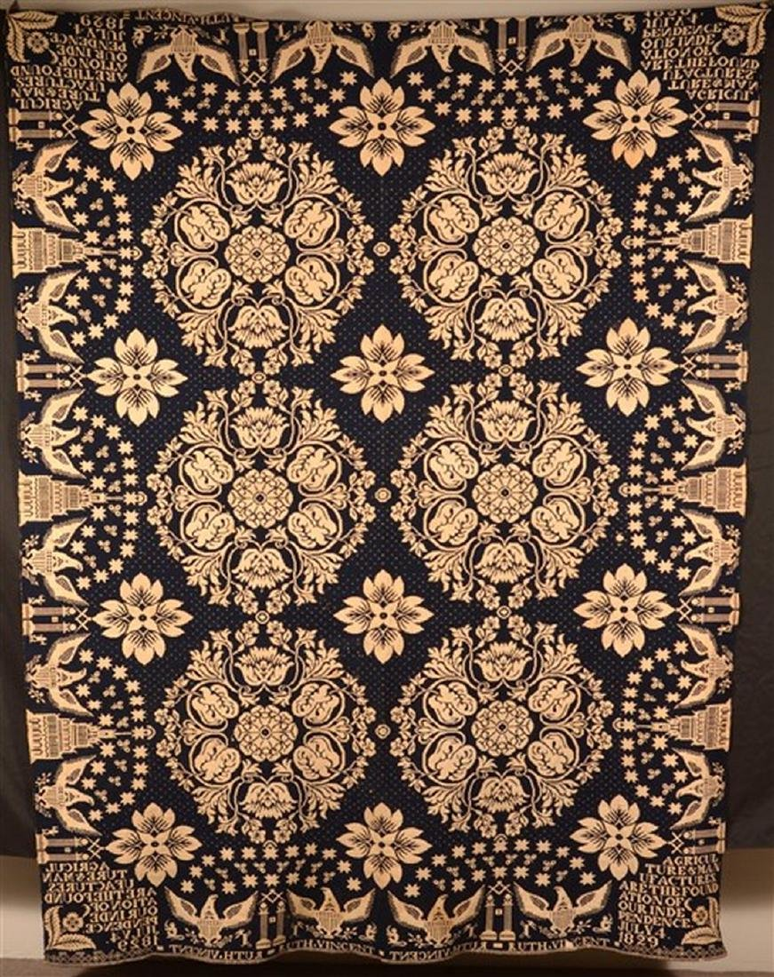 1829 Blue and Neutral Masonic Coverlet.