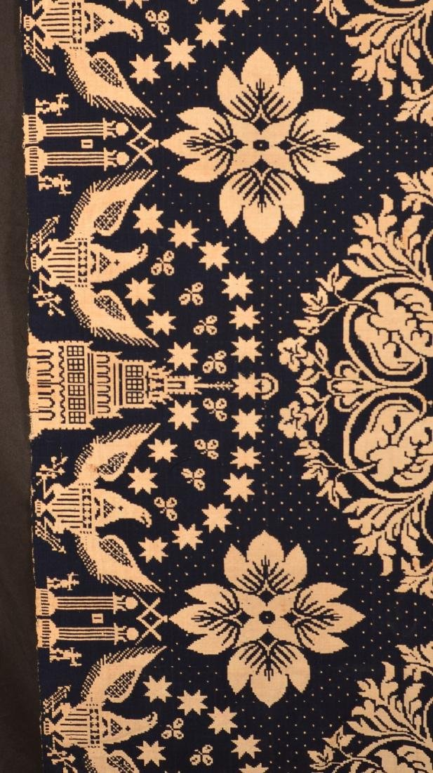 1829 Blue and Neutral Masonic Coverlet. - 4