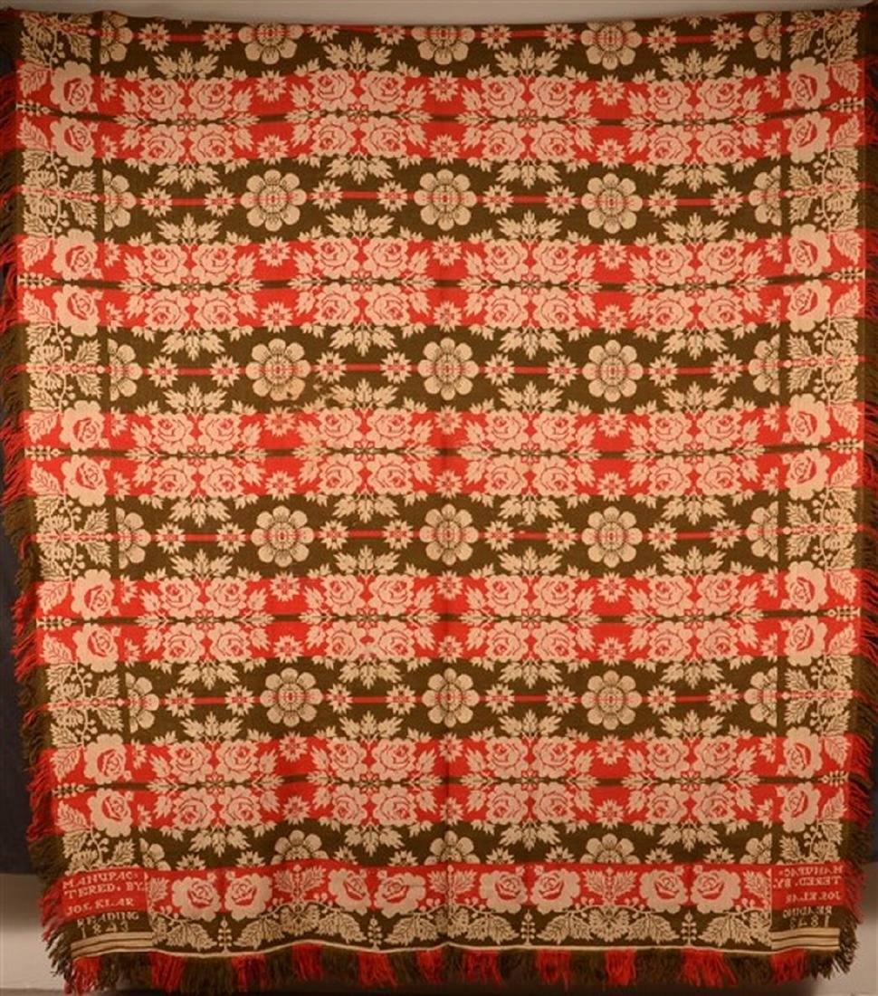 Jos. Klar, Reading (PA) 1843 Woven Coverlet.