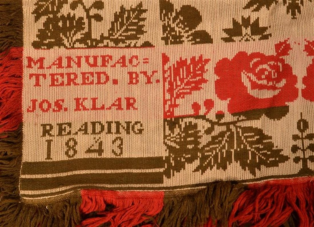 Jos. Klar, Reading (PA) 1843 Woven Coverlet. - 2