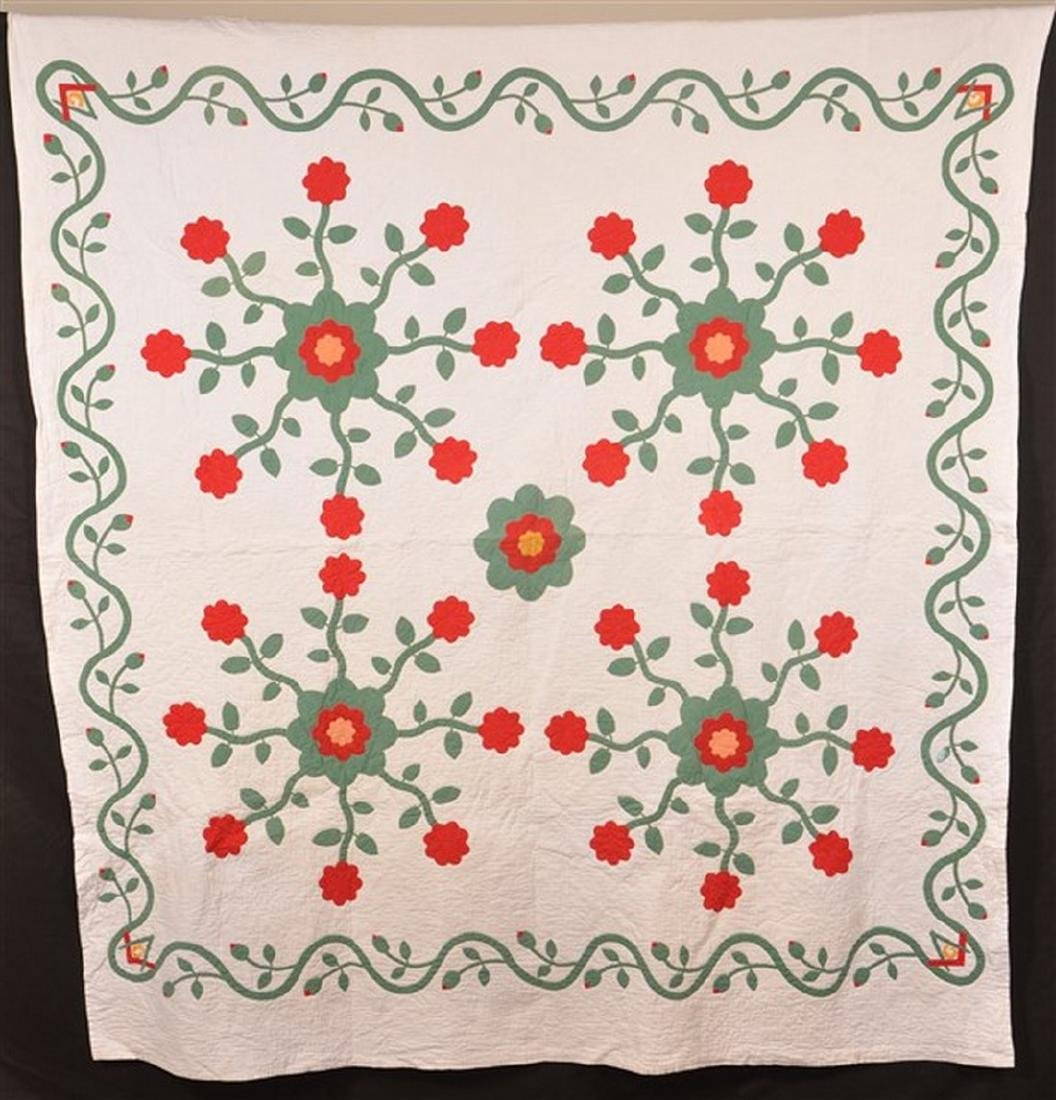 Masonic and Floral Pattern Applique Quilt.