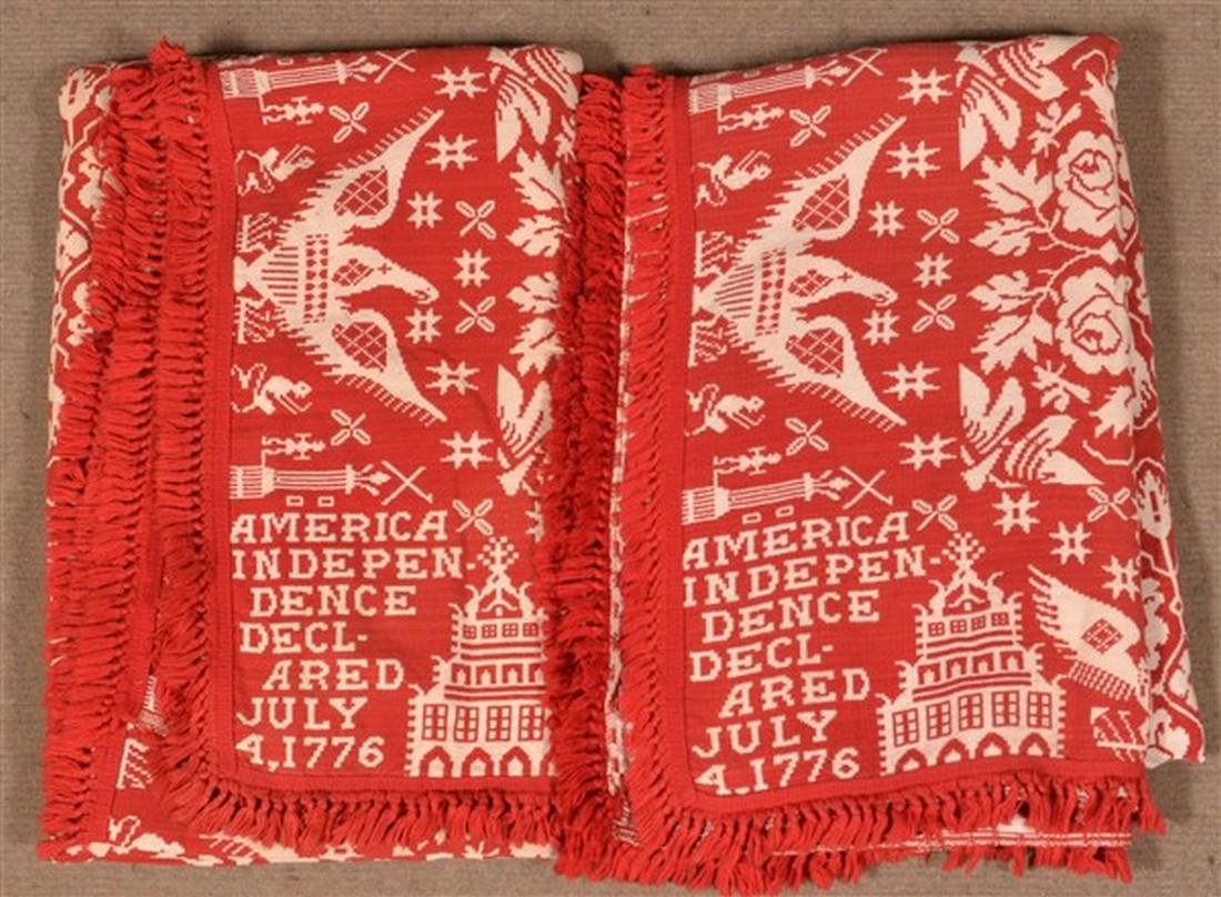 Pair of Red and Neutral Masonic Coverlets.