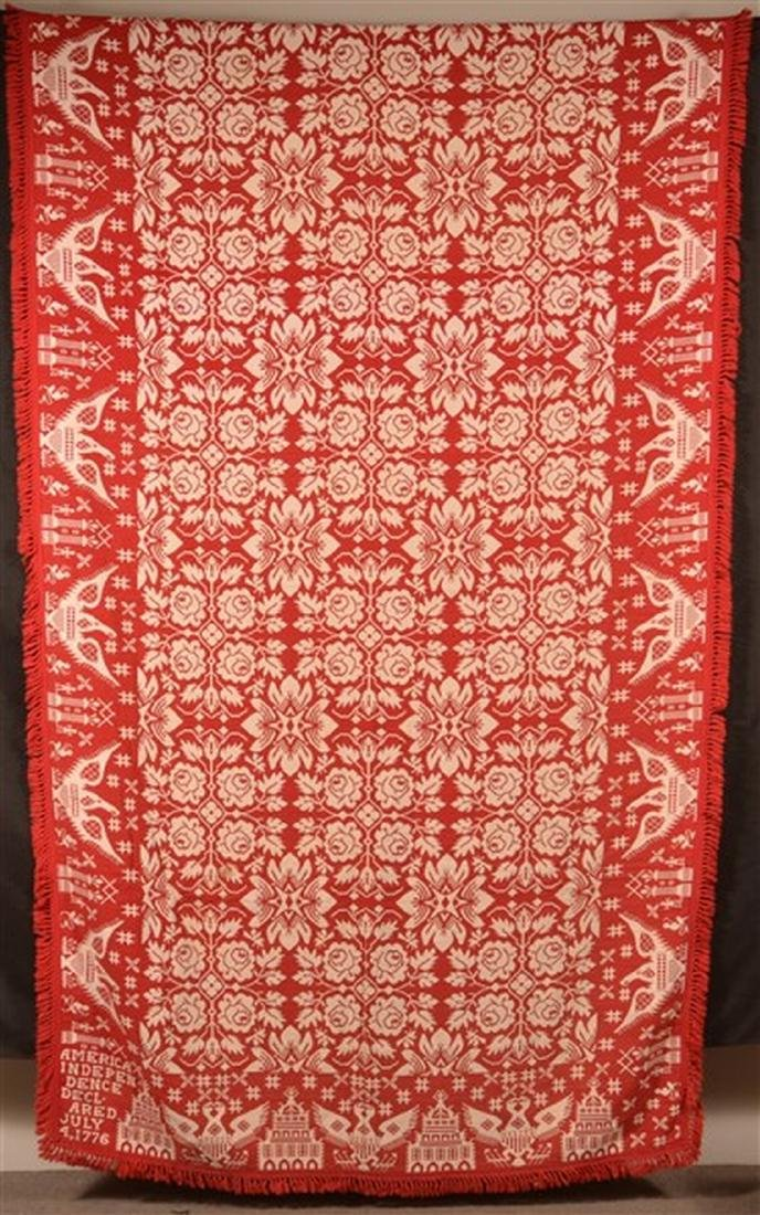 Pair of Red and Neutral Masonic Coverlets. - 2