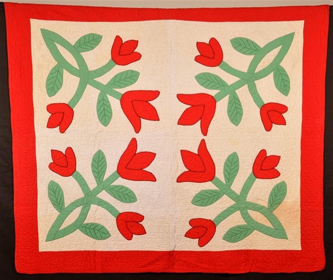 Vintage Tulip Pattern Applique Youth Quilt.