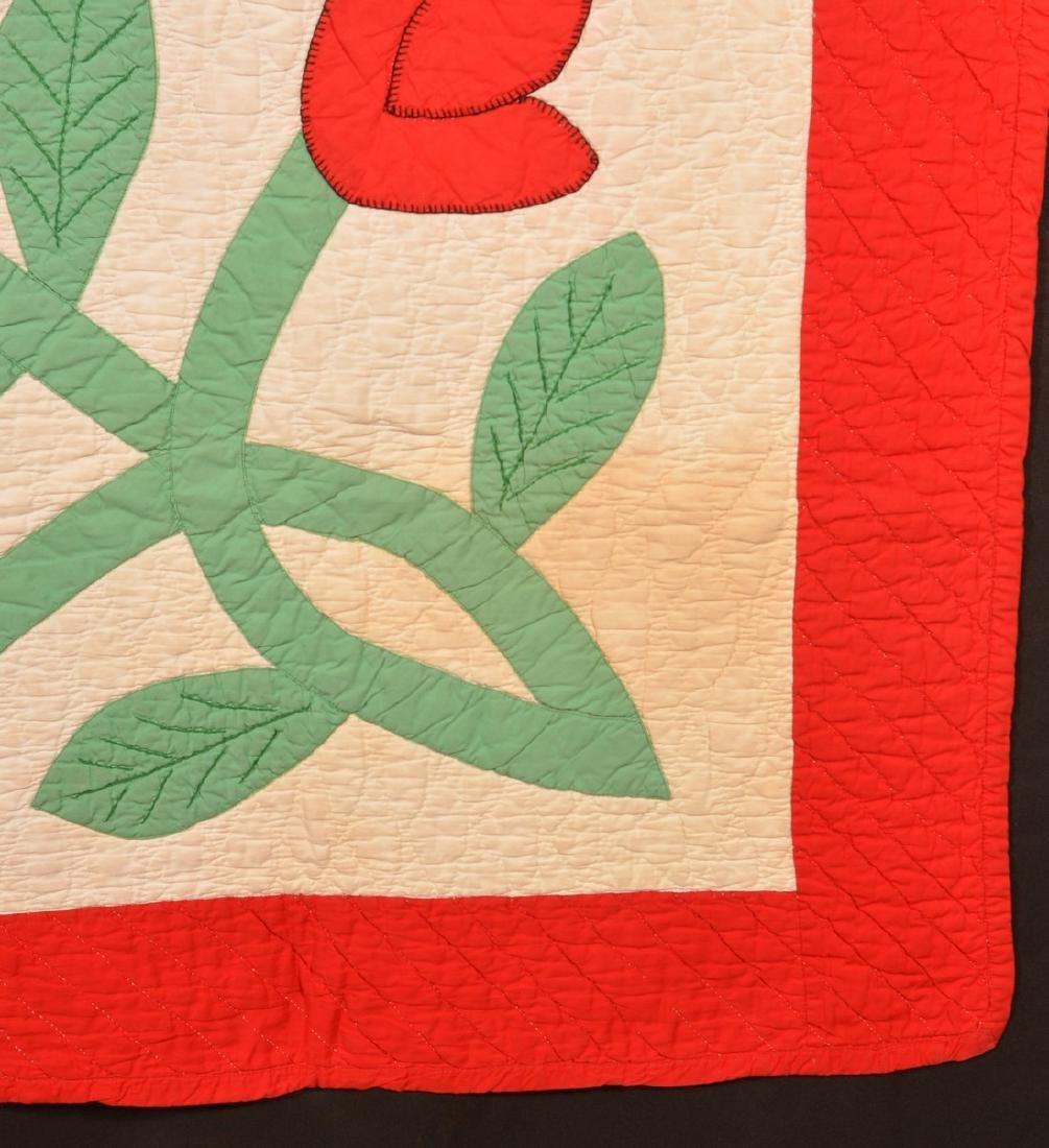 Vintage Tulip Pattern Applique Youth Quilt. - 3