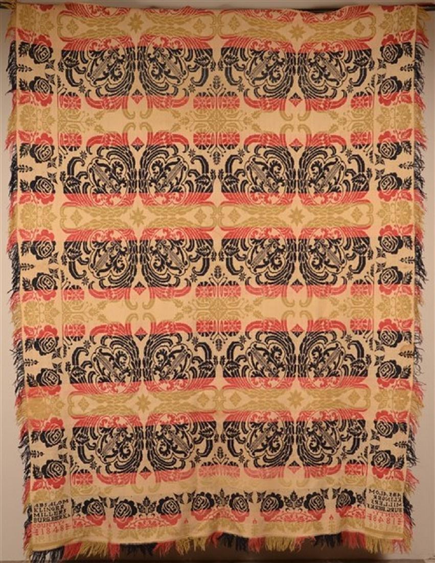 Berks Co., PA 1848 Jacquard Coverlet.