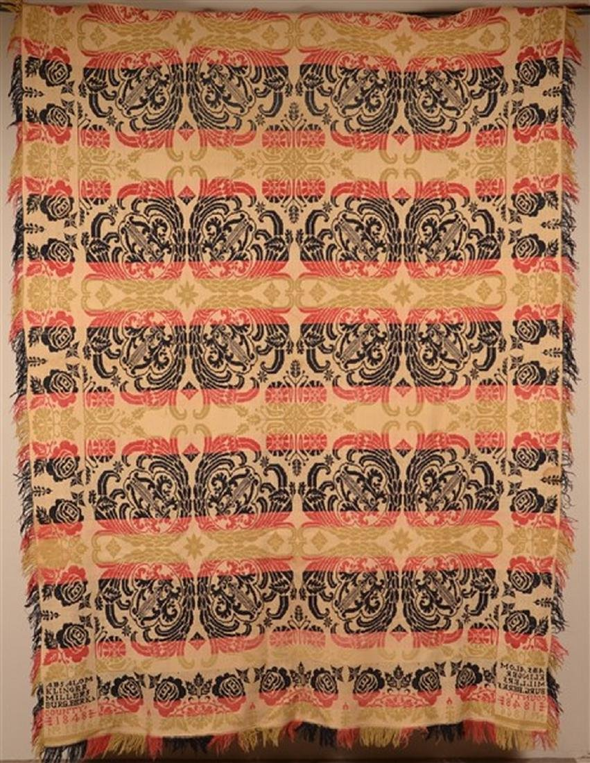 Berks Co., PA 1848 Jacquard Coverlet.