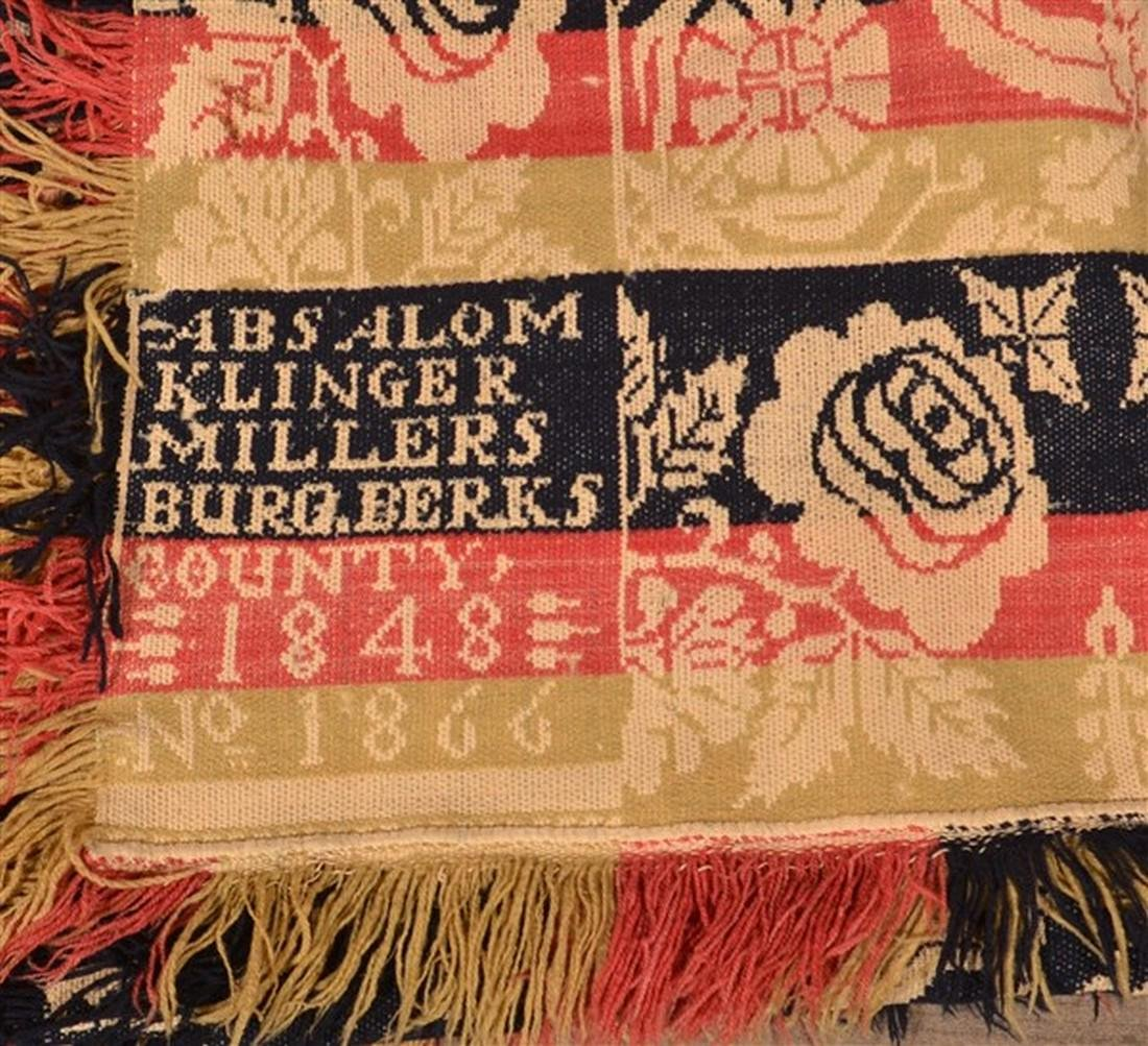 Berks Co., PA 1848 Jacquard Coverlet. - 2