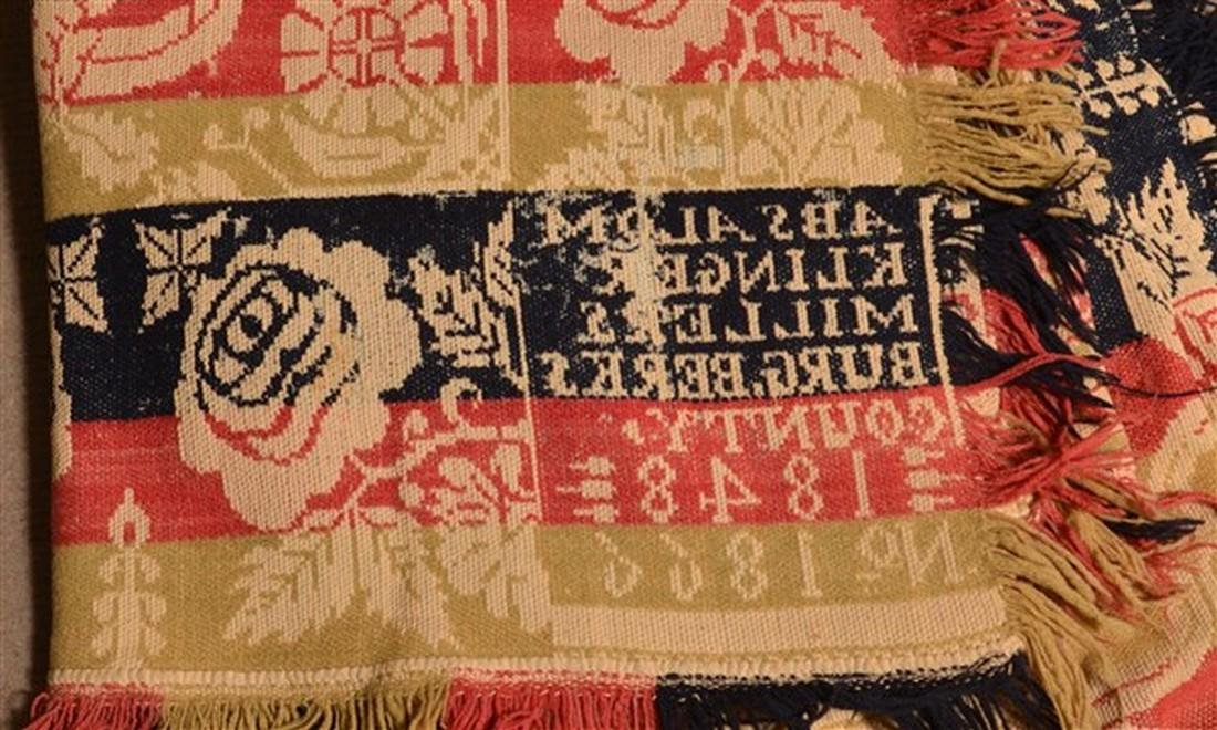 Berks Co., PA 1848 Jacquard Coverlet. - 4