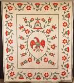 Central Eagle and Floral Pattern Applique Quilt.
