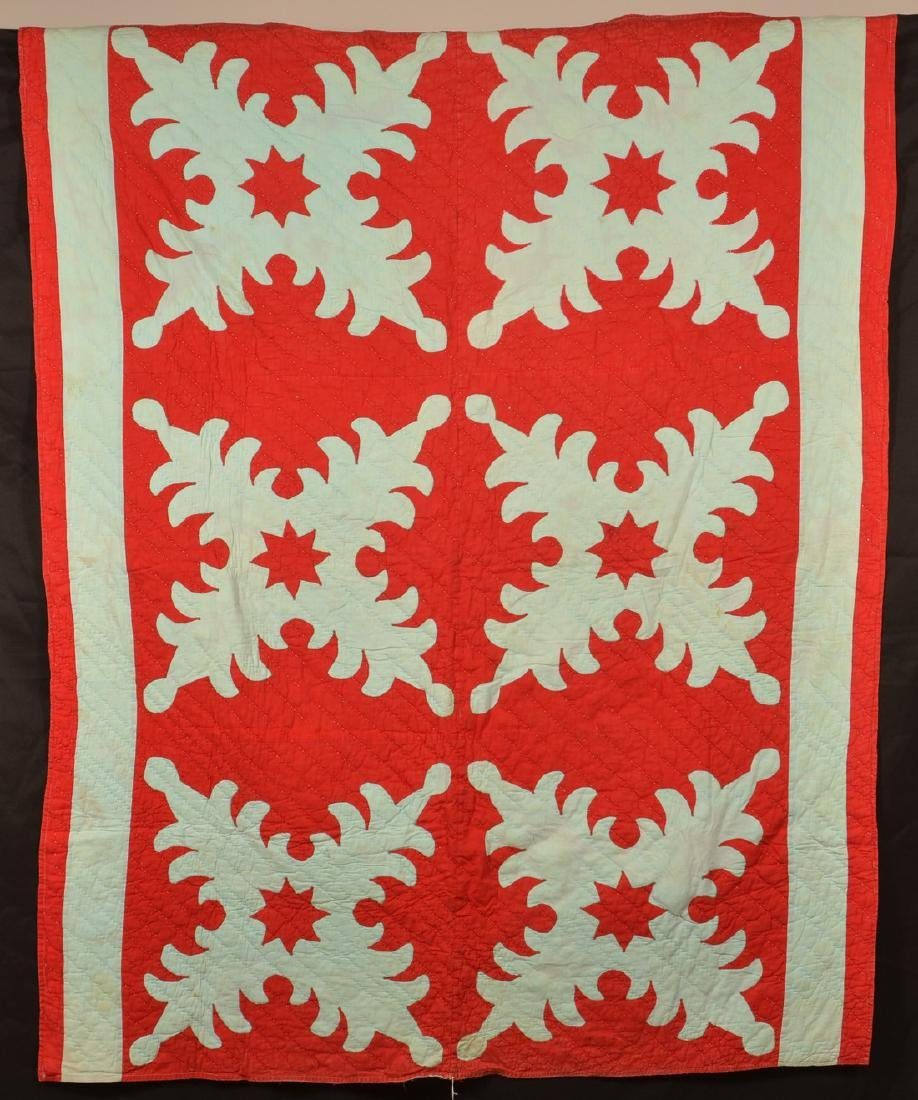 Antique Foliate Pattern Patchwork Quilt.
