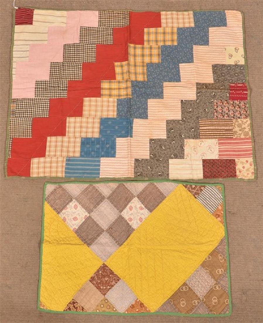 Two Various Patchwork Crib/Doll Quilts.
