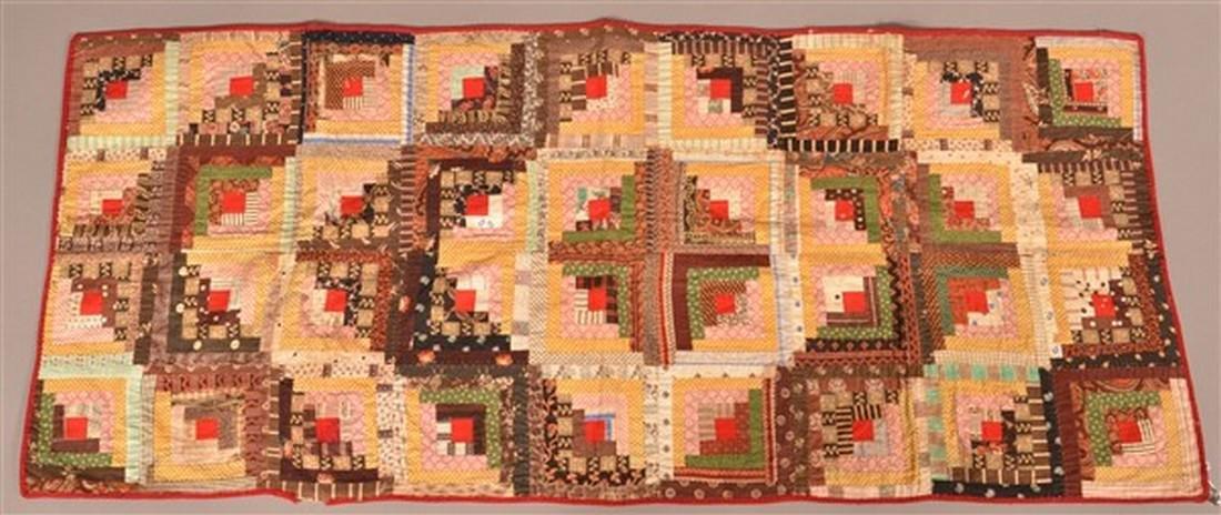 Antique Log cabin Pattern Patchwork Sham.