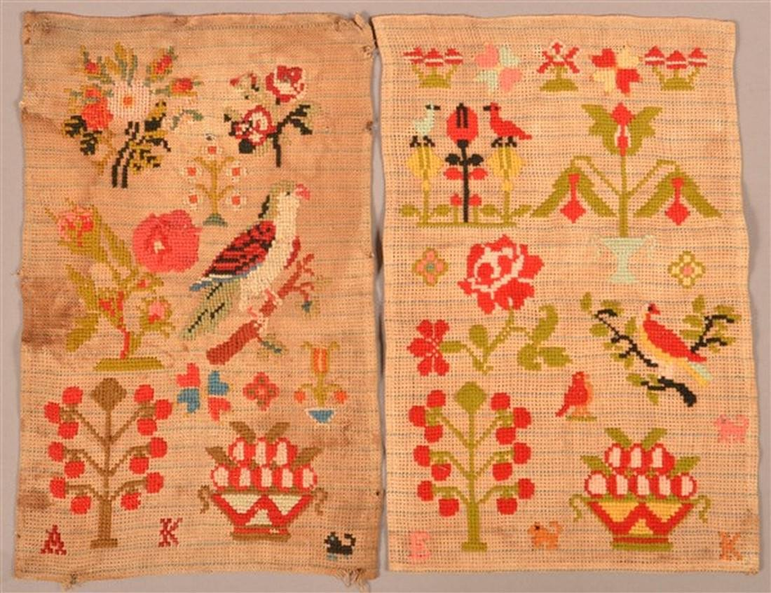 Two Victorian Needlework Pictorial Samplers.