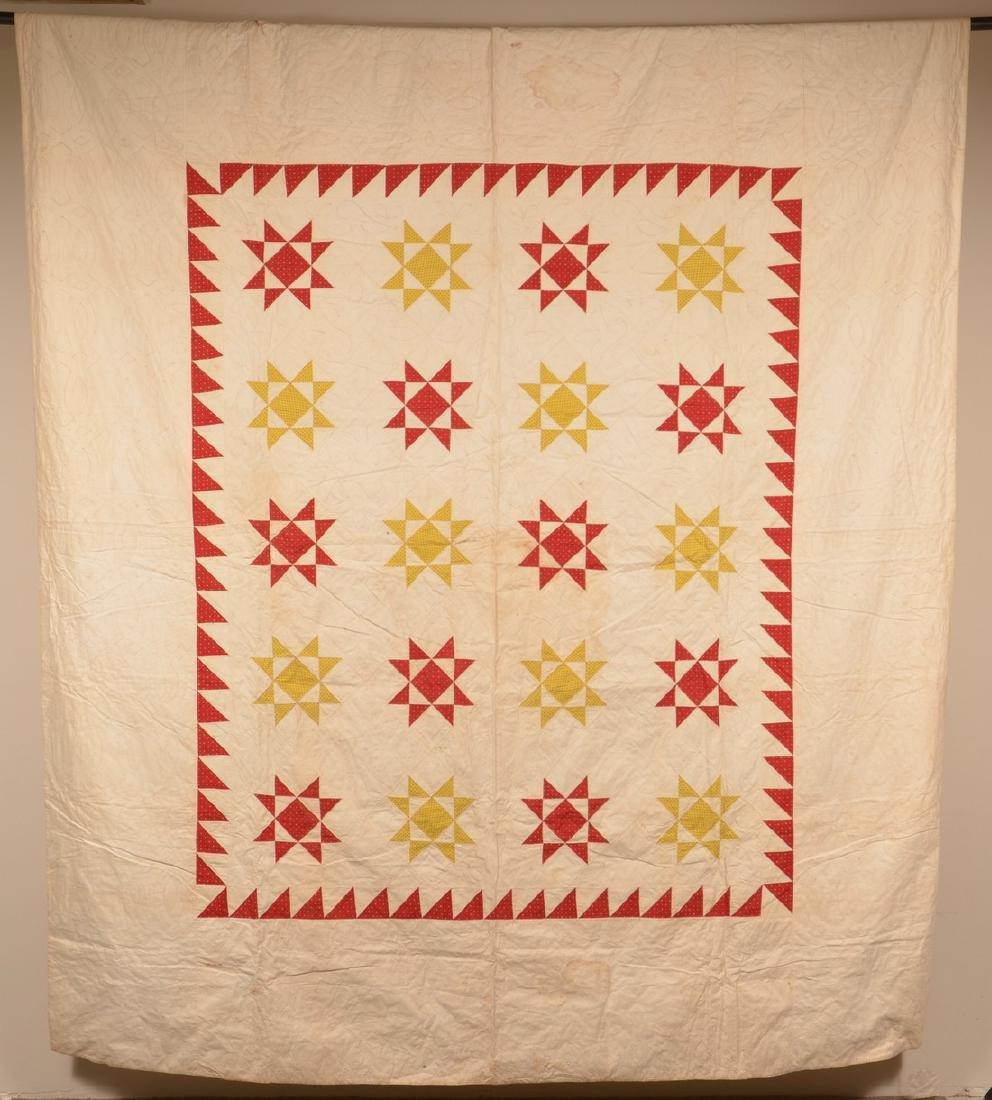 Antique Star Pattern Patchwork Quilt.