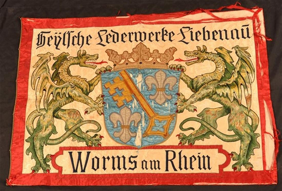 German Double-Sided Silk Needlework Banner.