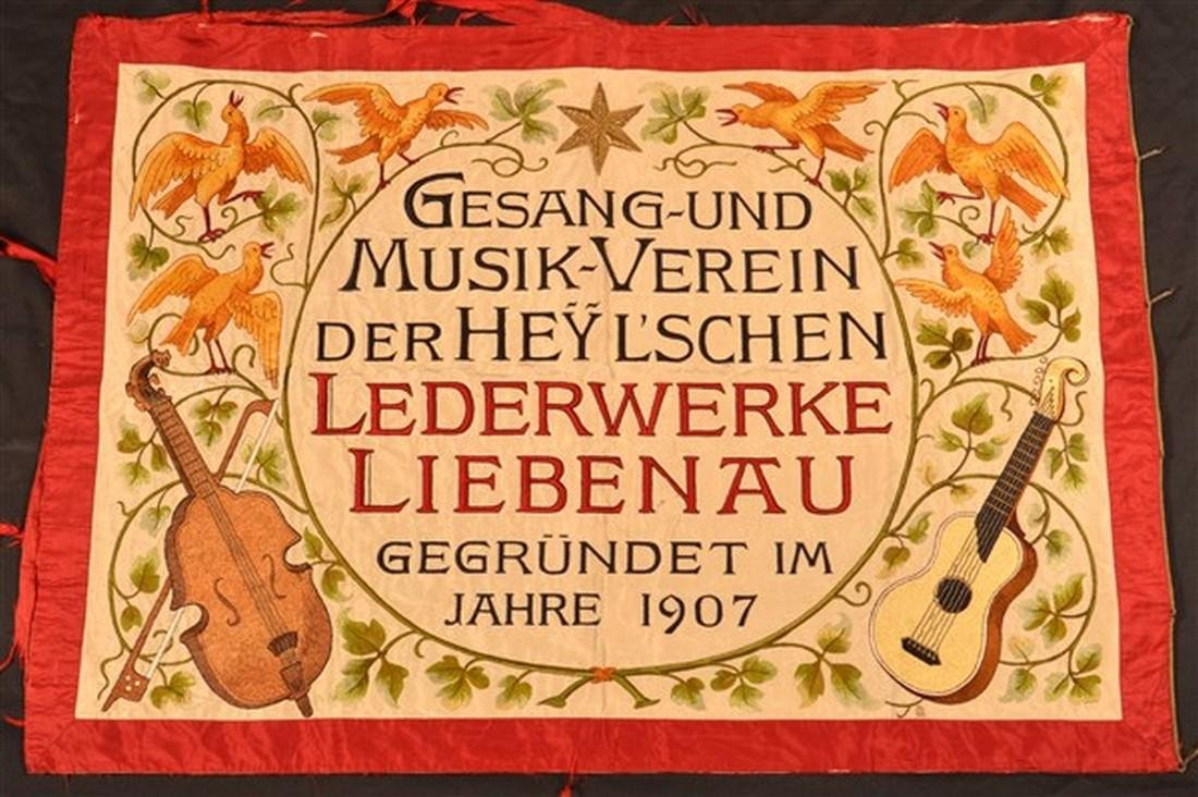 German Double-Sided Silk Needlework Banner. - 2