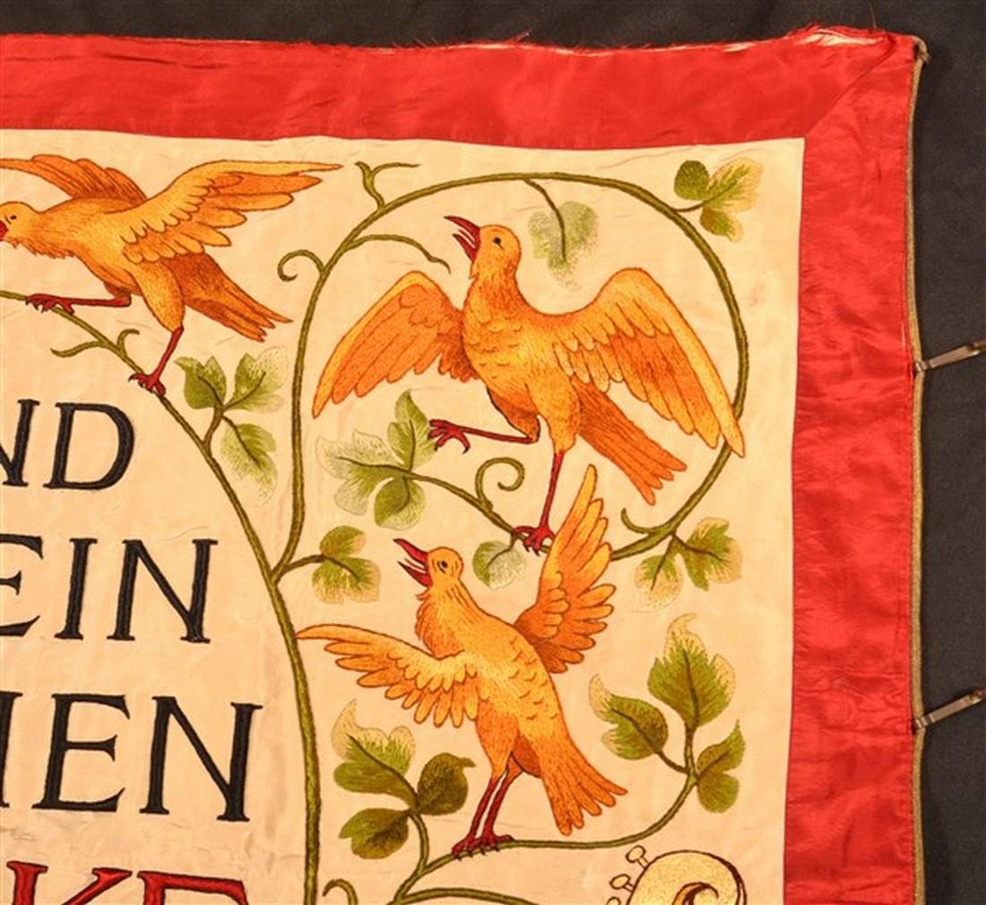 German Double-Sided Silk Needlework Banner. - 3