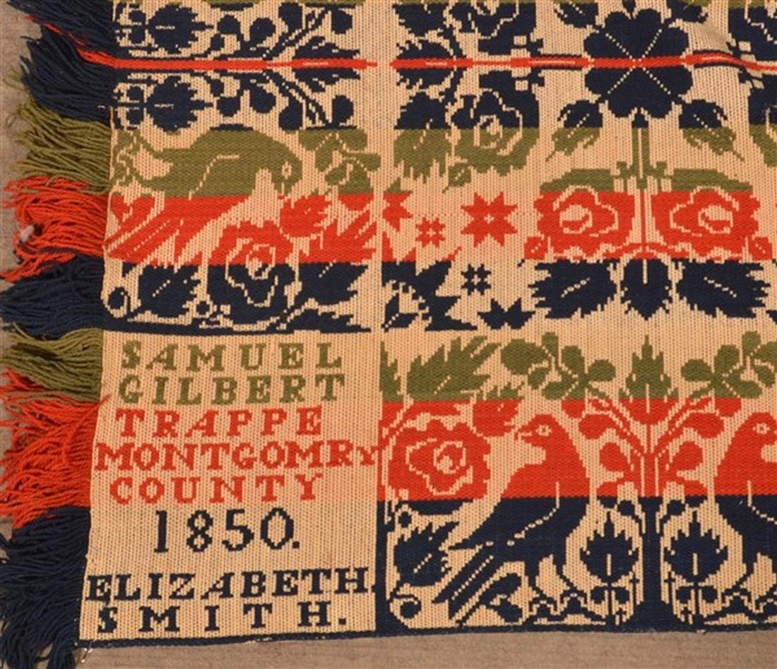 1850 Montgomery County, PA Jacquard Coverlet. - 2