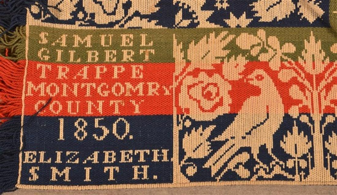 1850 Montgomery County, PA Jacquard Coverlet. - 3