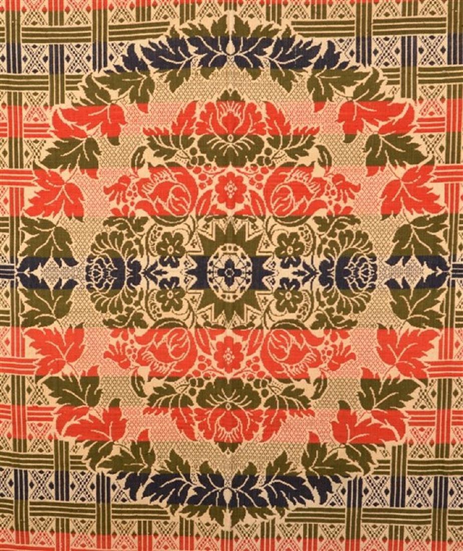 Four Color Single Part Jacquard Coverlet. - 2