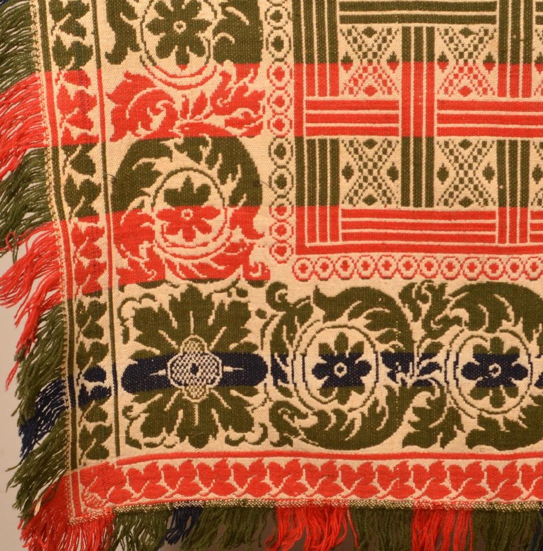 Four Color Single Part Jacquard Coverlet. - 3