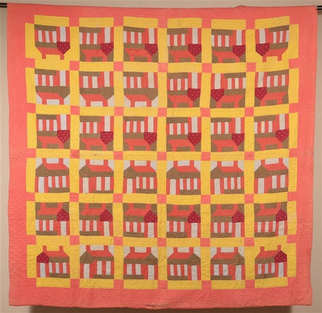 Antique Schoolhouse Pattern Patchwork Quilt.