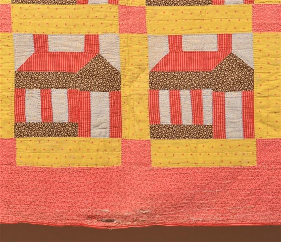 Antique Schoolhouse Pattern Patchwork Quilt. - 2
