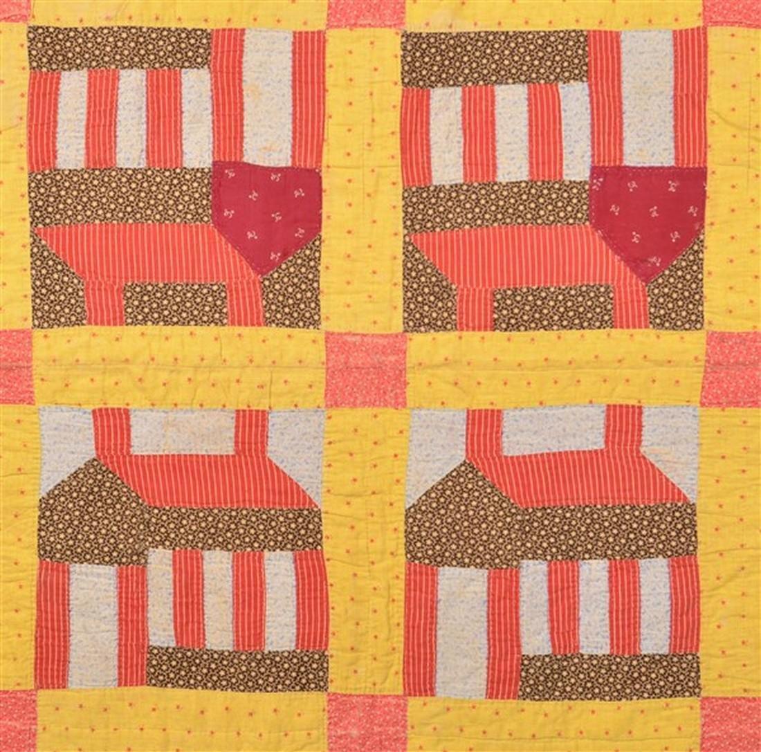 Antique Schoolhouse Pattern Patchwork Quilt. - 3