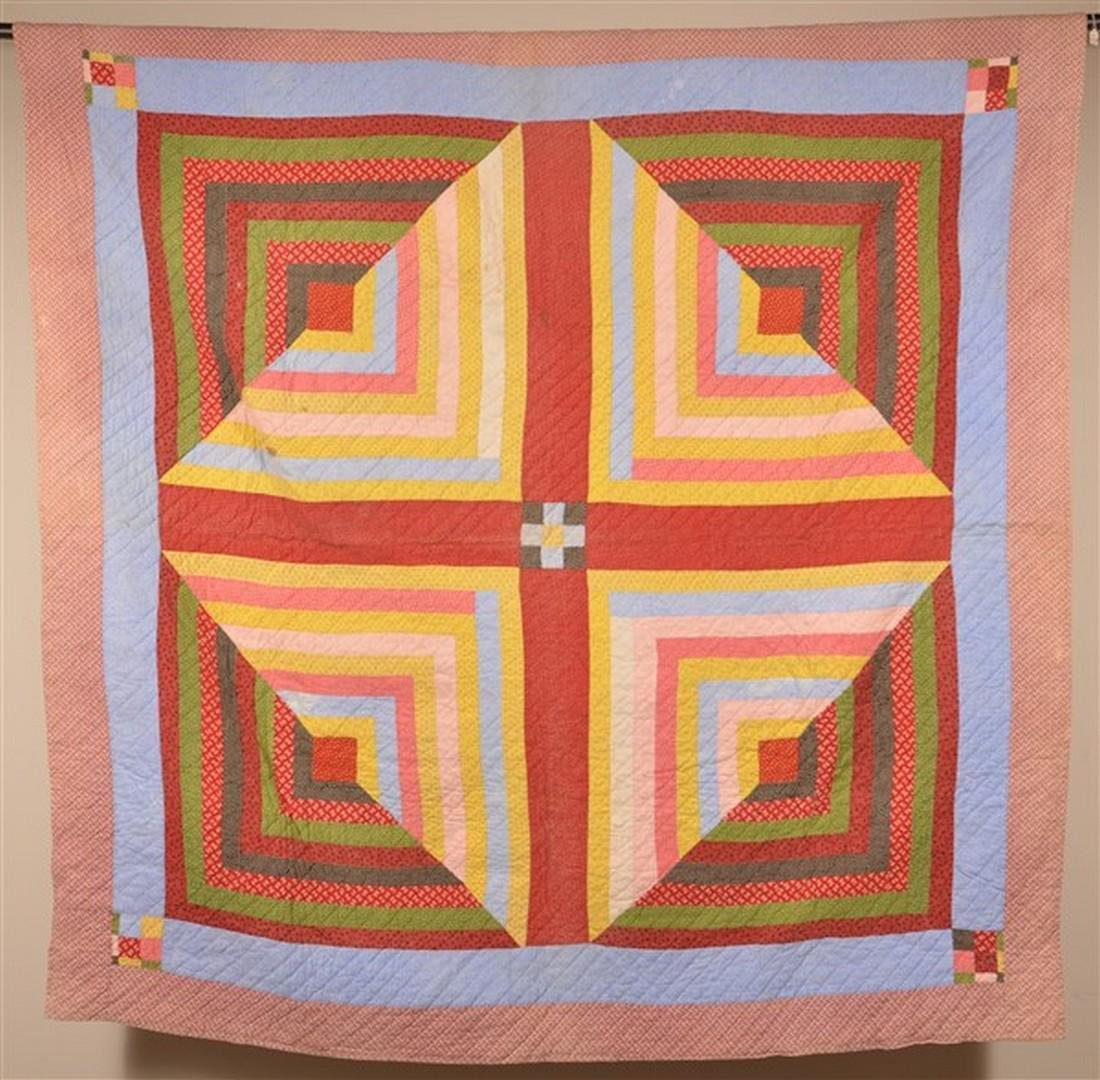 Rare Double-Sided Geometric Patchwork Quilt.