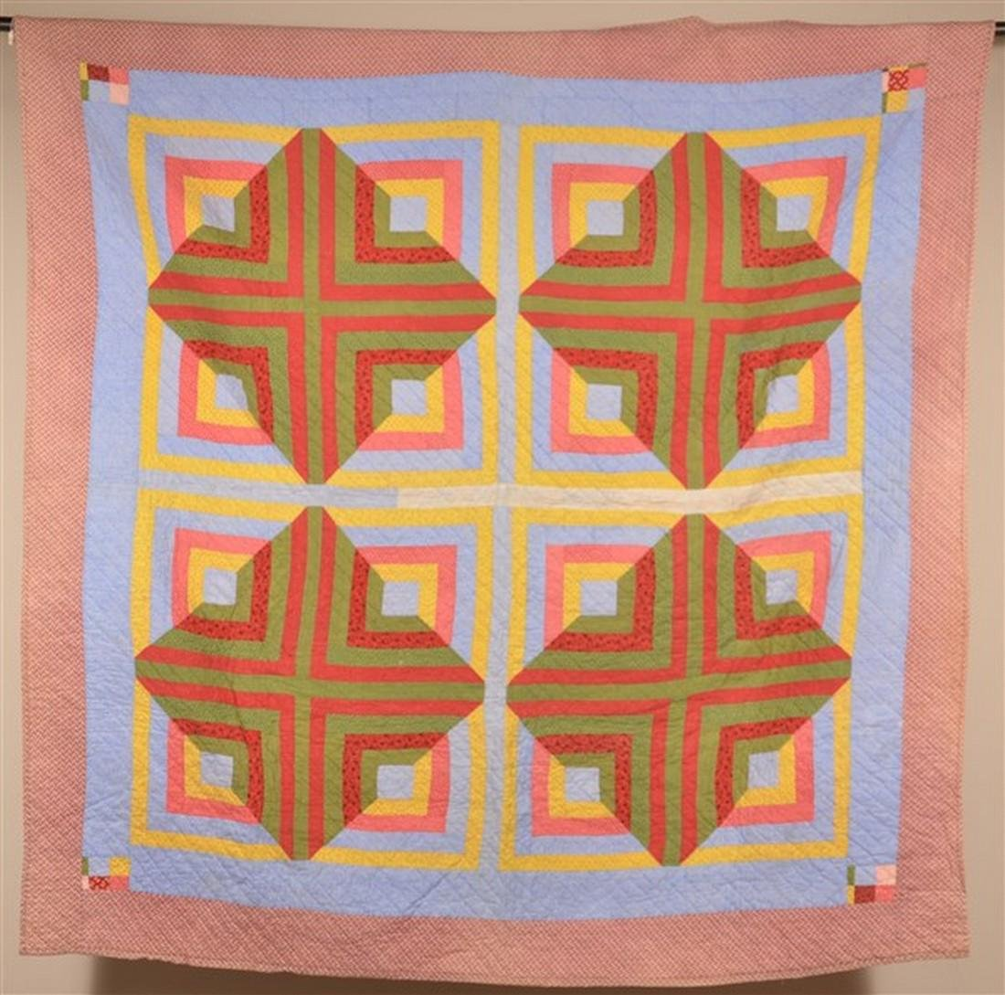 Rare Double-Sided Geometric Patchwork Quilt. - 2