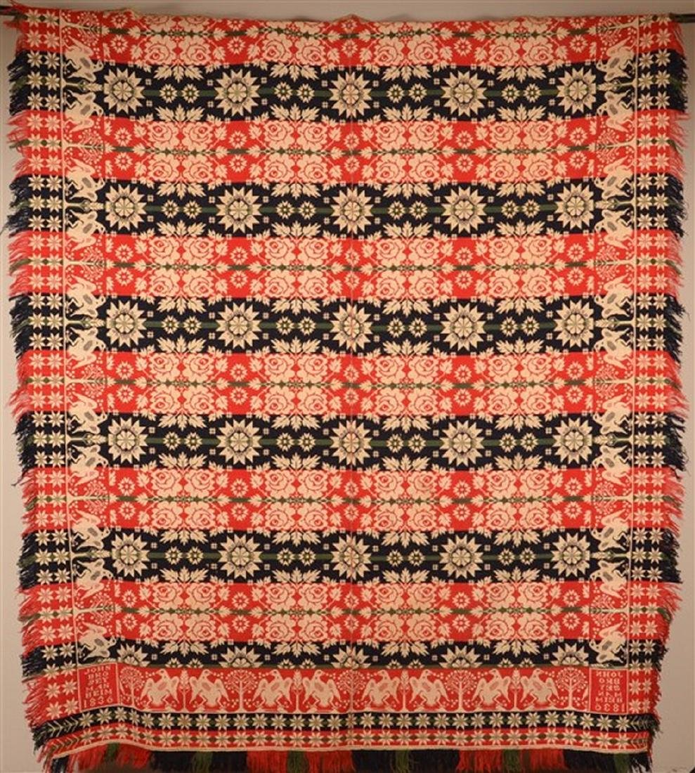 1836 Lancaster County, PA Jacquard Coverlet.