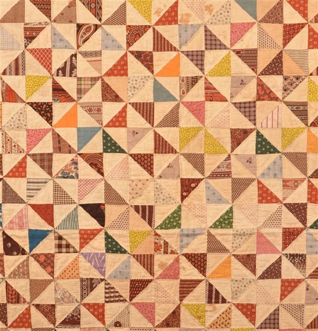 Antique Geometric Pattern Patchwork Quilt. - 2