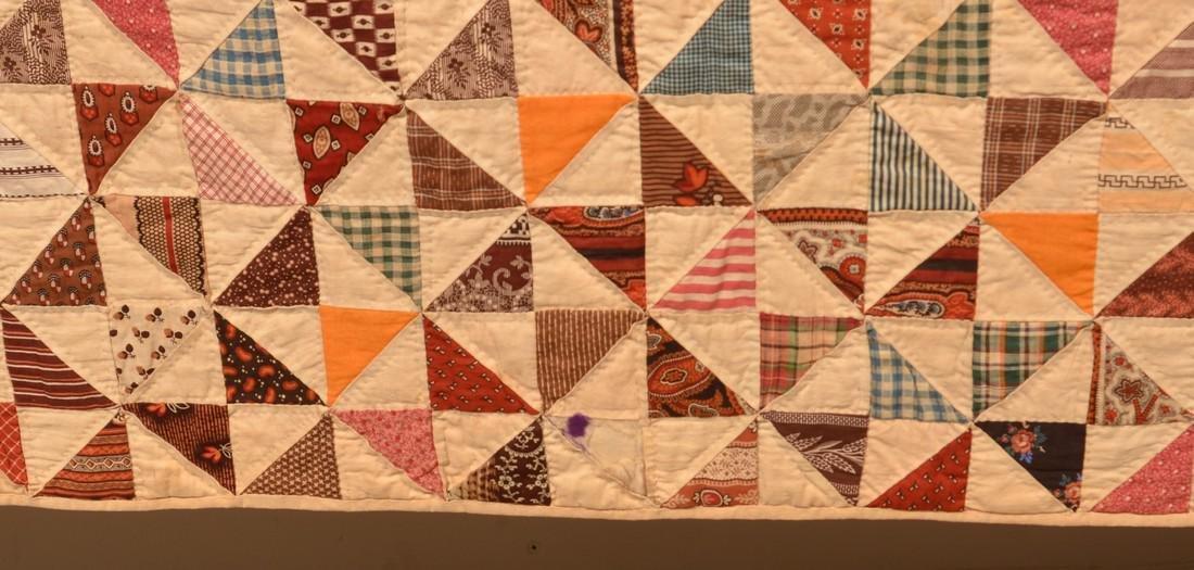 Antique Geometric Pattern Patchwork Quilt. - 3
