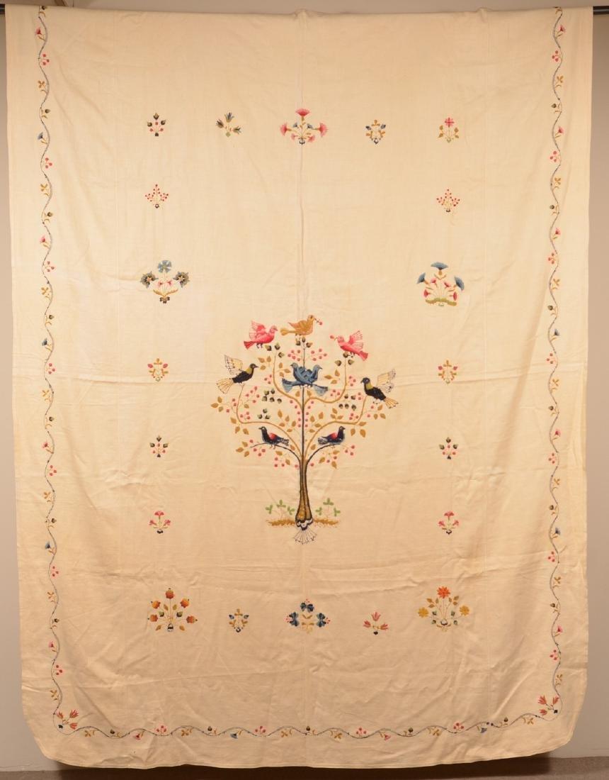 Paragon Bird Tree Floral Needlework Bedspread.