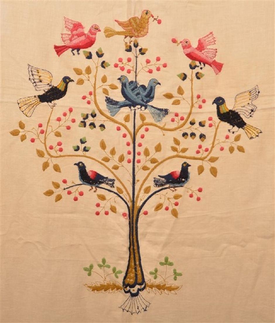 Paragon Bird Tree Floral Needlework Bedspread. - 2
