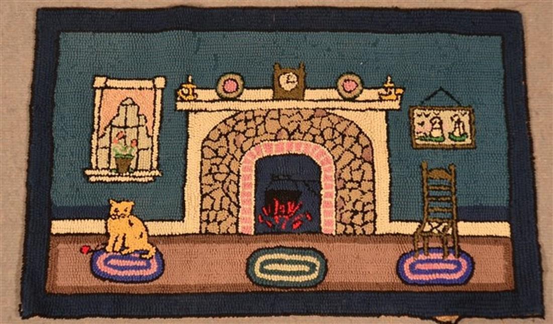 Vintage Interior Scene Hooked Rug.