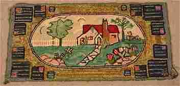 Antique Cottage/Landscape Scene Hooked Rug.