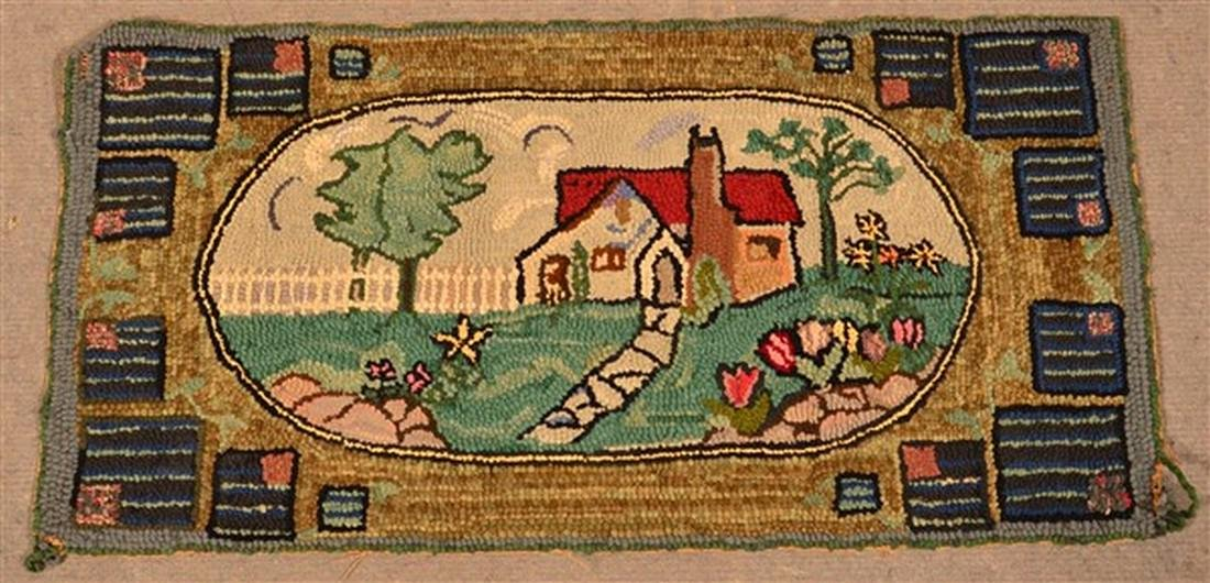 Antique Cottage/Landscape Scene Hooked Rug.