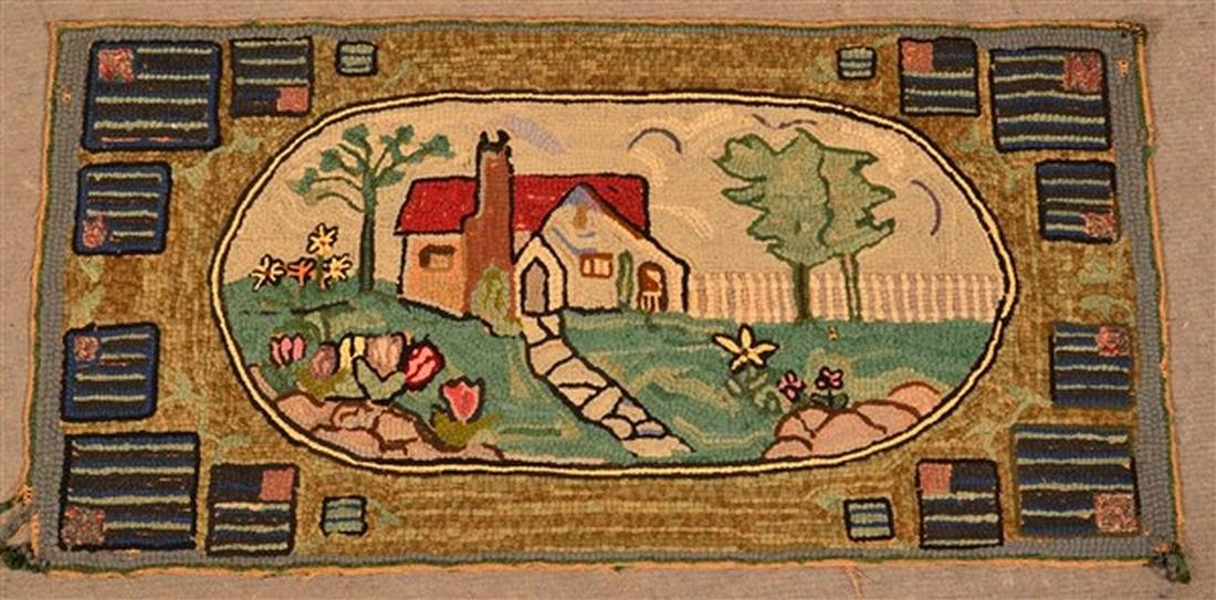 Antique Cottage/Landscape Scene Hooked Rug. - 2