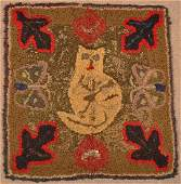 Antique Cat Design Hooked Rug