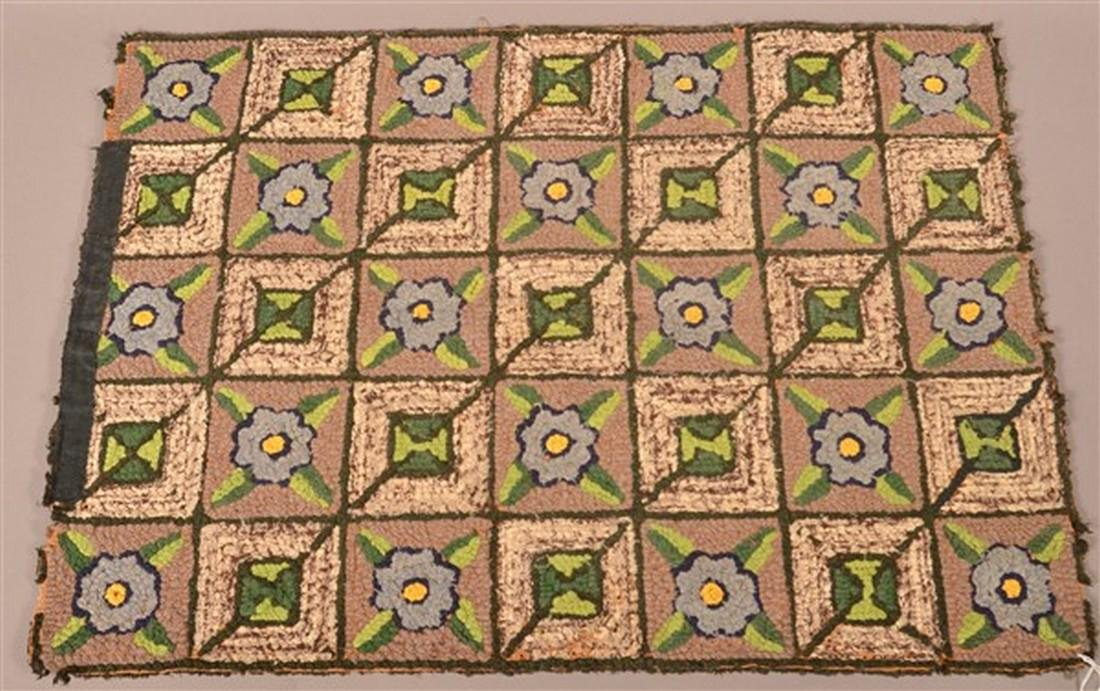 Antique Floral and Geometric Hooked Rug. - 2